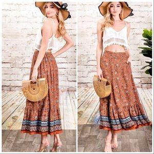 Autumn Rust Bohemian Free Spirit Maxi Skirt